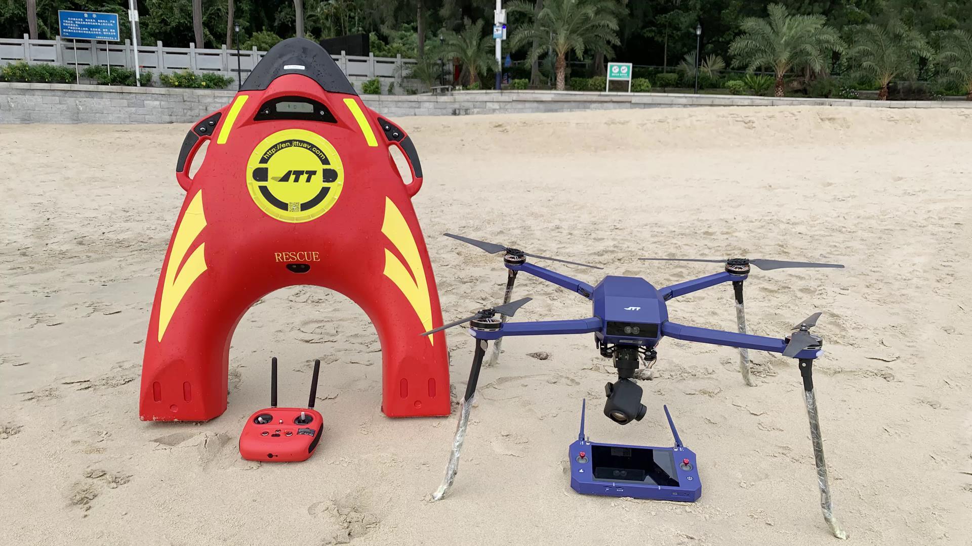 水上救援机器人&无人机实现中继远距离救援